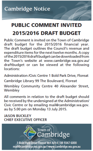 CanningAccountability image Cambridge ad for public comment for draft budget