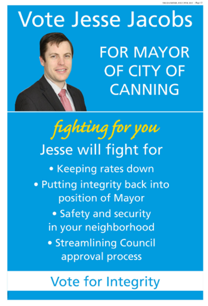 Jesse Jacobs Mayoral ad Canning Examier 29 July 2015