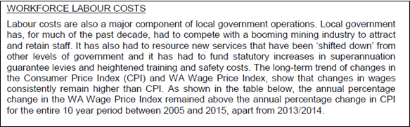 City of Canning Workforce Labour costs