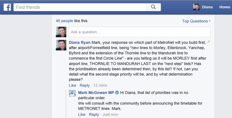 Mark McGowan on MetroNet priorities from WA Labor FB Sept 2015