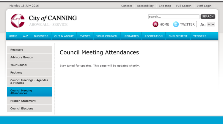 CanningAccountability image Councillor Attendance City website
