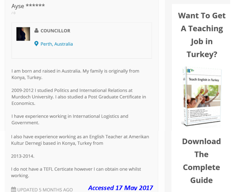 Ayse Martli advertising herself for teaching job Turkey